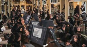 many chimpanzees working on computers