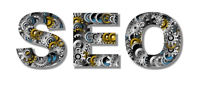 SEO logo with gears as letters